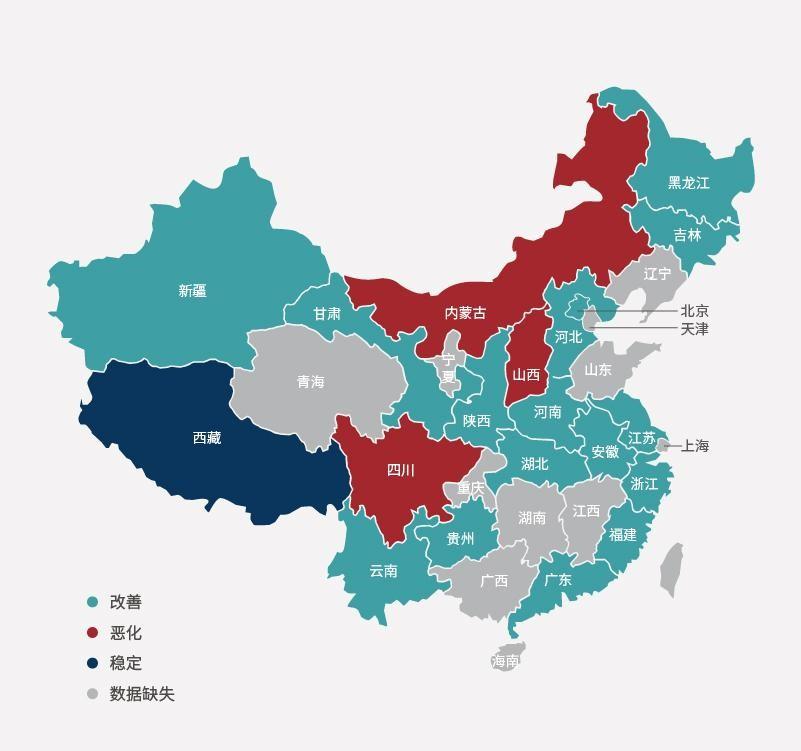 2011-2015年中国各省地表水环境质量变化情况